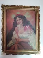 Nagyméretű Antik festmény olaj vászon Jelzett B K