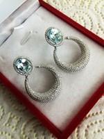 Káprázatos égszín kék topáz fehér cz ezüst fülbevaló 10,5 gr