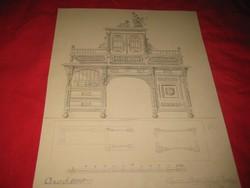 Berán B.    1899 Arad  .terv rajz  ,  szekrény   , ceruza   rajz