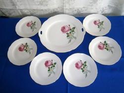 Nagyon régi, de szép állapotú rózsa virág mintás Kahla süteményes készlet 6 személyes