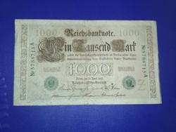 1000 márka 1910 zöld pecsét, és sorszám