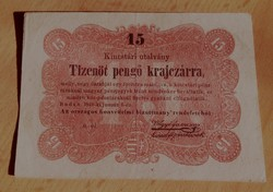15 Pengő Krajcár 1849 a legritkább Kossuth Bankó  EF                 K005