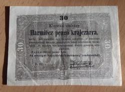 30 Pengő Krajcár 1849 Kossuth Bankó  VF                                K002