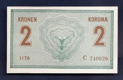 2  Korona 1914 vékony, magas C kissé ferde nyomat UNC