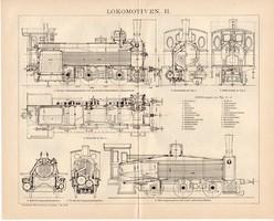 Gőzmozdonyok II. és I., III., egyszínű nyomat 1893, német nyelvű, eredeti, vasút, mozdony, lokomotív