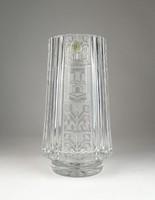 0U658 Vastag falú gyönyörű kristály váza 23 cm