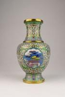 0U619 Antik tűzzománc japán réz váza