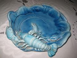 Zsolnay  , kék .  rákos tál , a legnagyobb méretű 30 cm