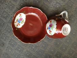 Régi Aquincum bordó fond festésű kávés csésze aljjal - kézifestés (6 db)