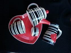 Art deco jellegű porcelán teás szett kiöntő kancsóval