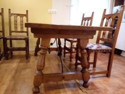ÉTKEZŐ  garnitúra Spanish Revival stílusban: asztal plusz 8 szék