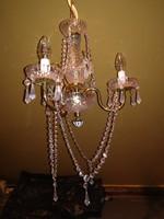 Gyönyörű 3 karú,régi rézbetétes  kristály csillár.