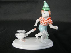 Metzler Ortloff porcelán kisfiú libával