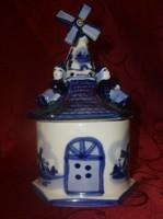 Holland delft-i stílusú , szélmalom formájú nagy kék porcelán bonbonier