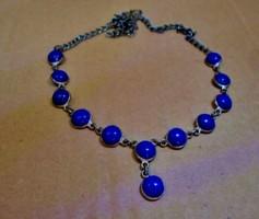 Régi ezüstözött nyaklánc lápisz kék kövekkel