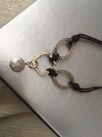 Ezüst nyaklánc, nyakék gyöngygyel (Silpada)