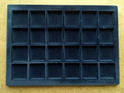 Érmetartó tálca kék bársony 24 érméhez