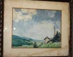 Jánossy Ferenc jelzéssel akvarell, papír 43 cm X 37 cm