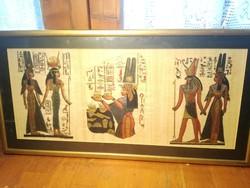 3 db egyiptomi papirusz kép egyben,keretezve.