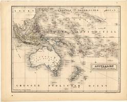 Ausztrália térkép 1840, német nyelvű, atlasz, eredeti, Pesth, 23 x 29 cm, magyar kiadás, régi