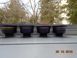 Kobaltkék arany csíkkal kis Keleti Mongóliából származó csészék 4 db