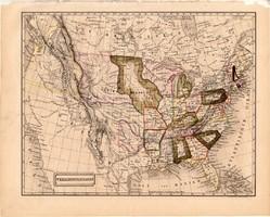 Egyesült Államok térkép 1840, német nyelvű, atlasz, eredeti, Pesth, 23 x 29 cm, Amerika, észak, régi