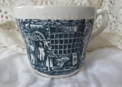 Royal Tudor sötétkék jelenetes fajansz csésze