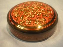 N19 Bakelit pohár alátétek 6 dos dobozában élénk színű hibátlanok lakk festett  10.5 cm-es
