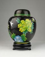 0U708 Régi fekete keleti tűzzománc váza 14 cm