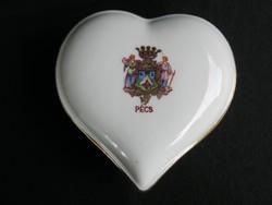 Drasche porcelán szív alakú bonbonier PÉCS címeres