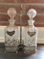 Elegáns ezüst/üveg Whisky, Cognac italtartó