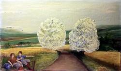Art deco romantikus, jelzett festmény