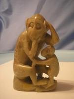 U11 Antik jade majom család ritkaság BÉBIVEL