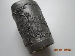 MAX LEIPELT-Antik dísz ón kis pohár a régi Alsó Szilézia híres épületeivel