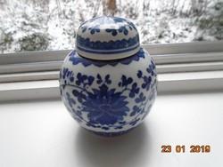 Kangxi apokrif 6 írásjellel kobaltkék fedeles váza lótuszvirág mintával 11 cm