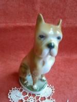 Zsolnay porcelán boxer kutya figura