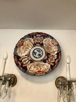 Hatalmas 200éves Japán Imari Arita Porcelán Tál 46cm