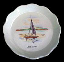 Régi aquincumi porcelán Balaton tájképes tálka