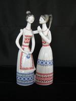 Hollóházi porcelán pletykázó lányok