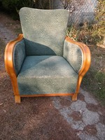 Szuper kényelmes rugós kellemes mohazöld huzatú szép világos keményfa karfás fotel