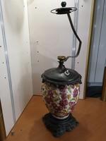 Különleges, antik Fischer majolika lámpatest, búra és szerelvények nélkül, bronzötvözetben