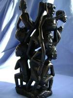 Antik valódi vasfából készült 7 figurás ébenfa szobor csoport