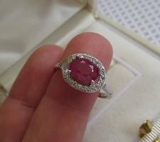 Rubin köves ezüst gyűrű - új ékszer -17,1 mm belső átmérővel