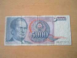 JUGOSZLÁVIA 5000 DINÁR 1985 J.B.TITO BB