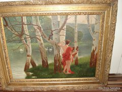Szignált olaj vászon festmény keretben