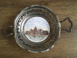 Régi porcelánbetétes Budapest látképes kínáló