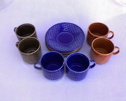 Kék-zöld-barna kerámia kávéskészlet