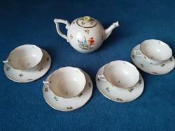 Antik Herendi teás kanna, kancsó 4 antik Herendi teás csészével