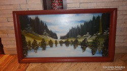 Tájkép festmény tó és fenyves erdő 51x93,5 cm