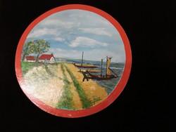 Kikötés /kerek olaj-kartonra festmény/